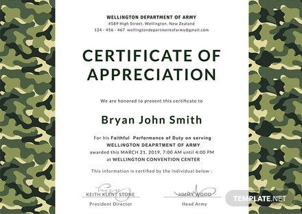 Free Army Certificate of Appreciation Template: Download 200+ ...