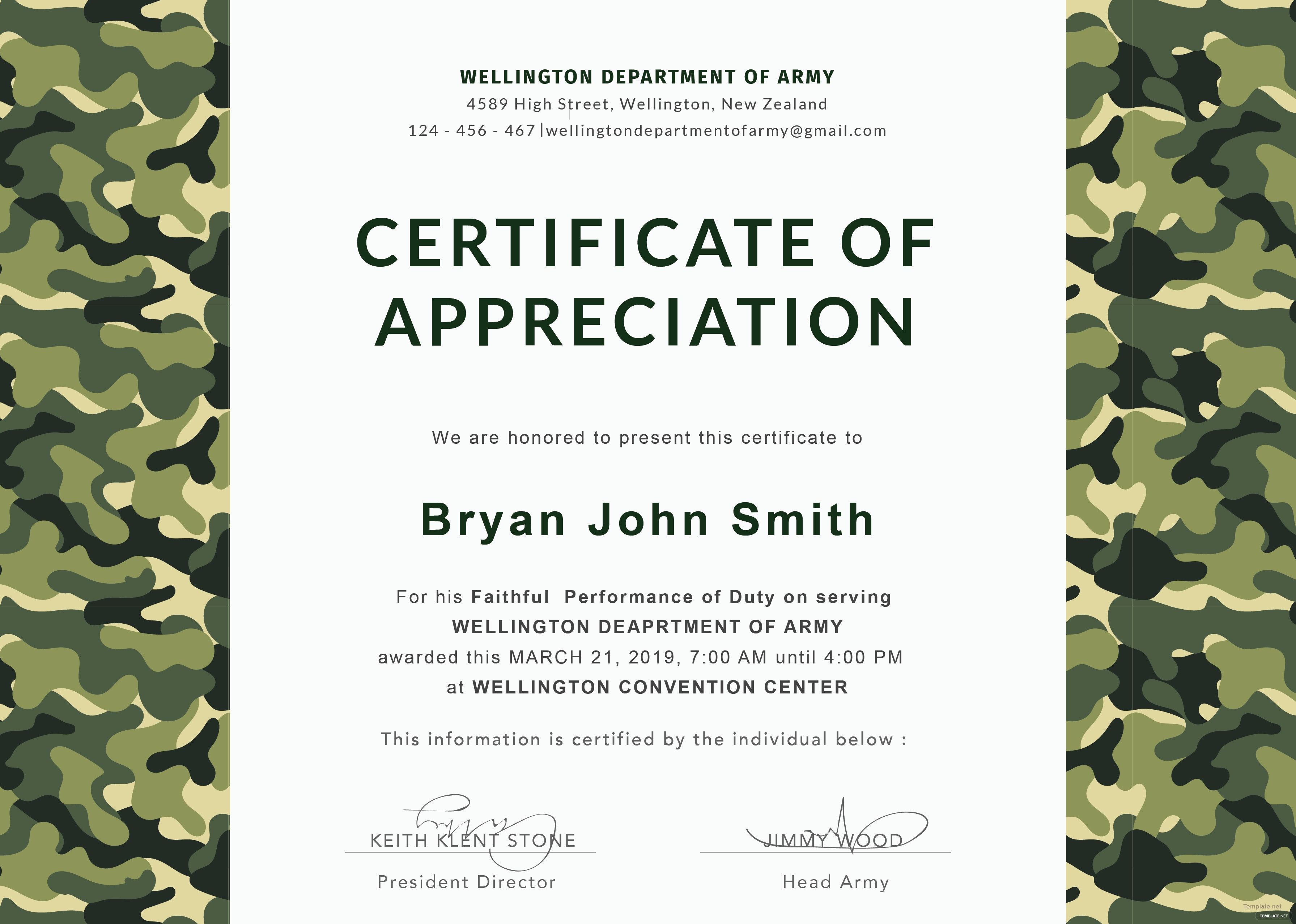 Free Army Certificate of Appreciation Template in Adobe Photoshop