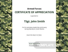 Free Army Certificate of Appreciation Template