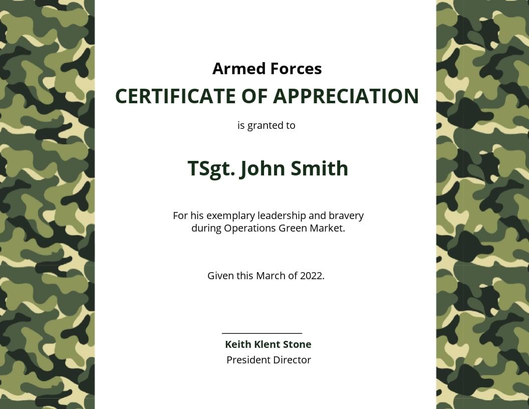 Free Army Certificate of Appreciation Template.jpe