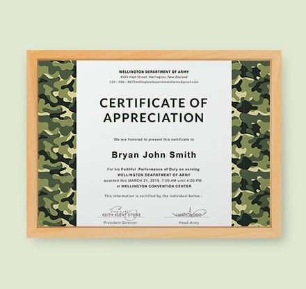 certificate of appreciation template publisher - free army certificate of appreciation template download