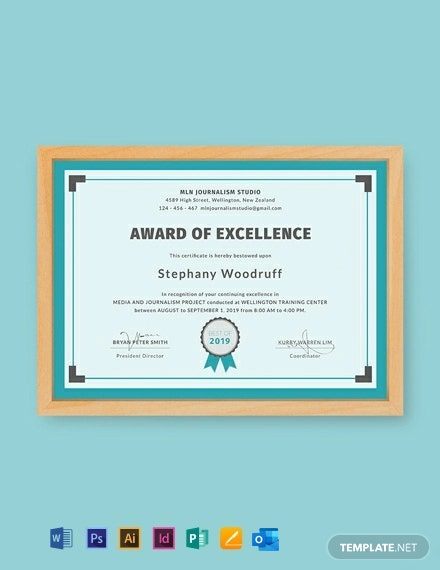 Free Training Excellence Award Certificate Template