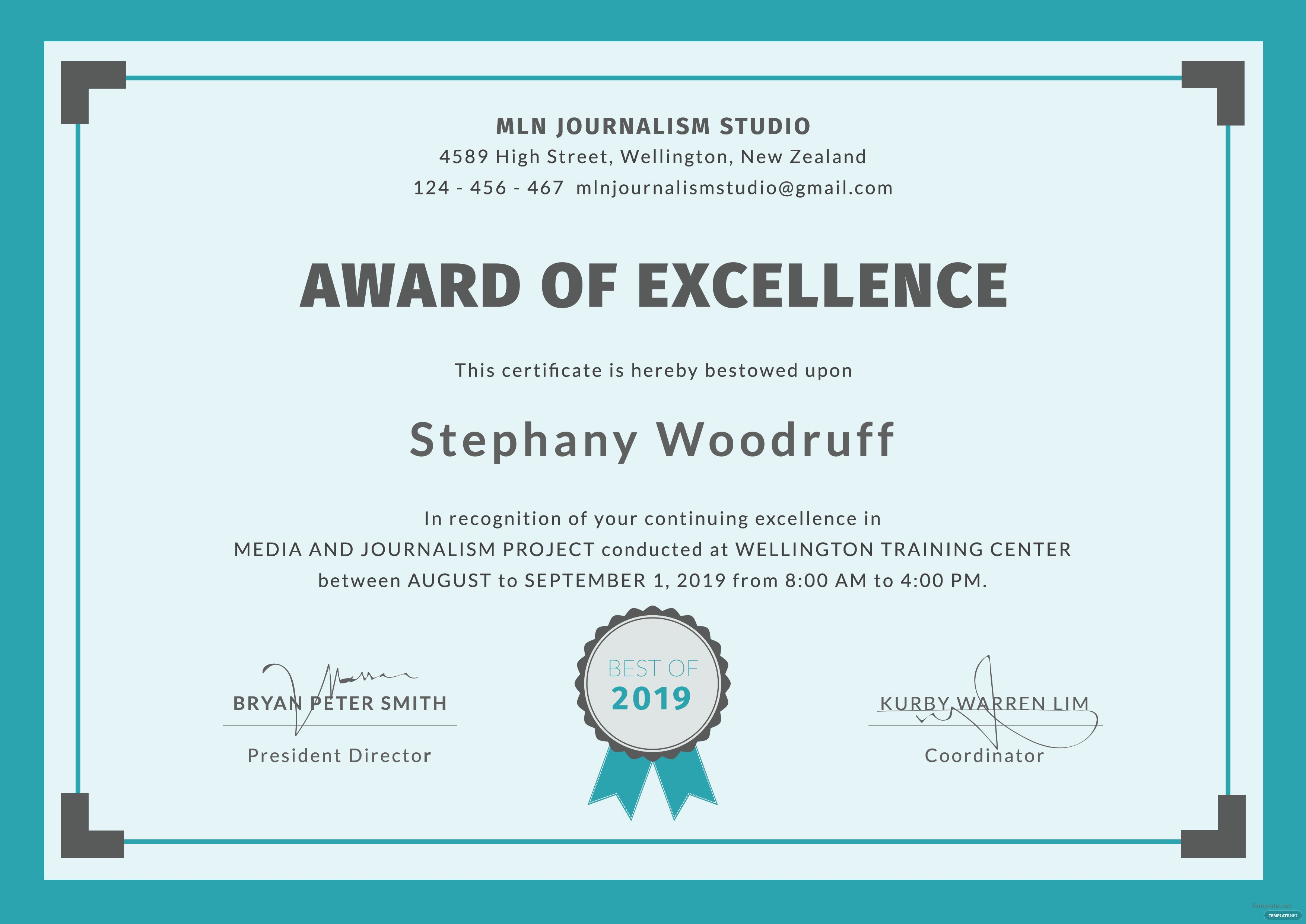 free training excellence award certificate template in
