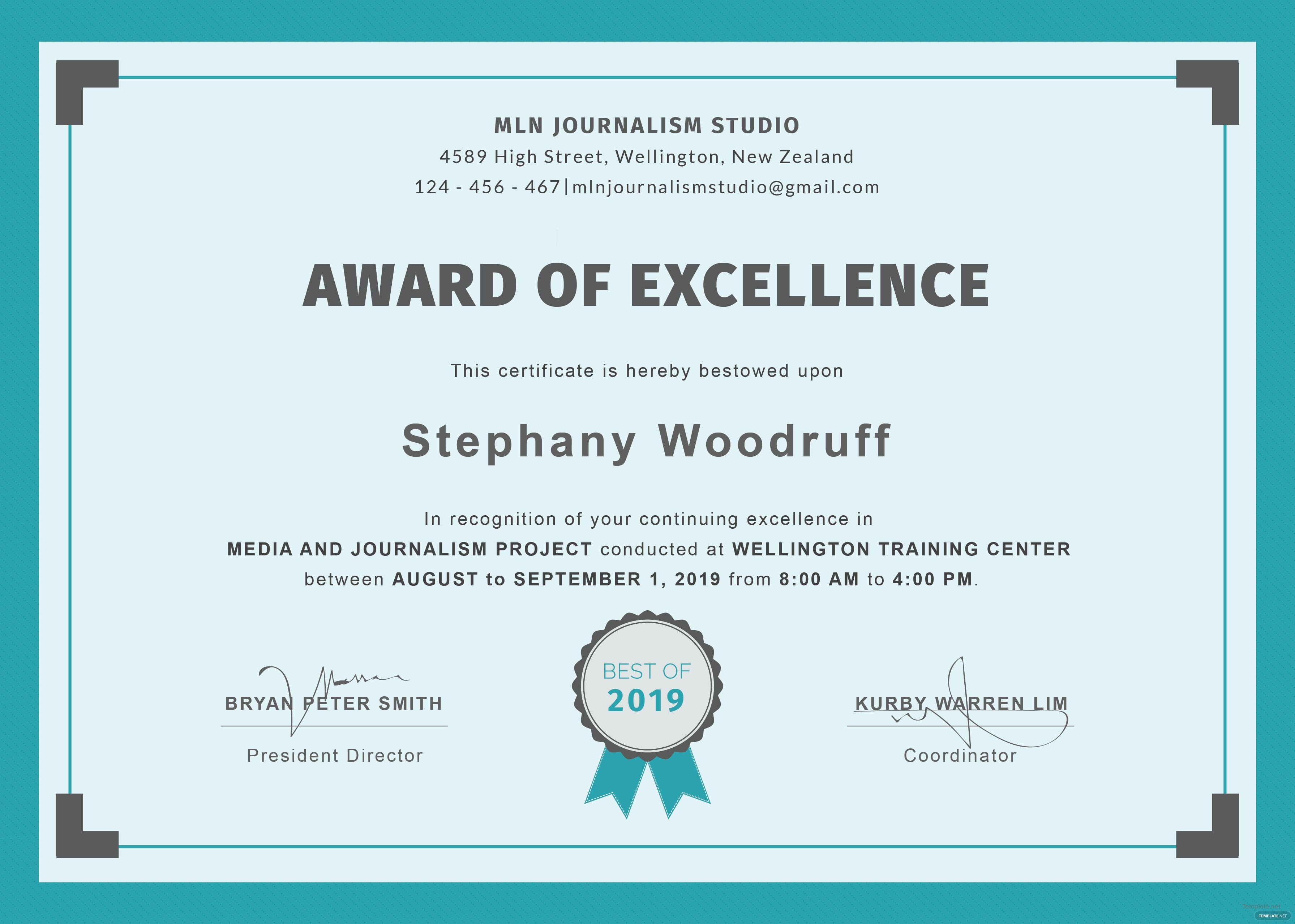 certificate of excellence award templates | trattorialeondoro