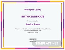 Free Certificate of Birth Template