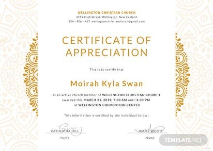 free church certificate of appreciation template