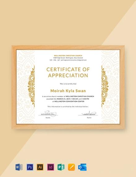 Free Church Certificate of Appreciation Template