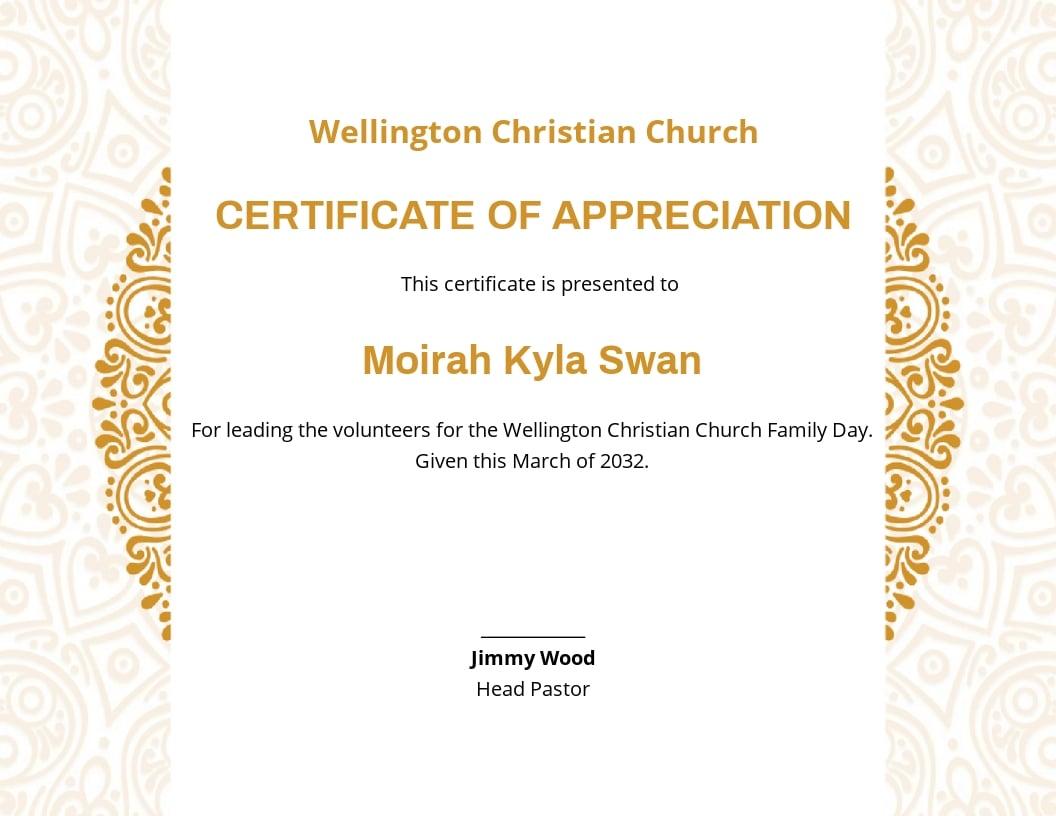 Church Certificate of Appreciation Template