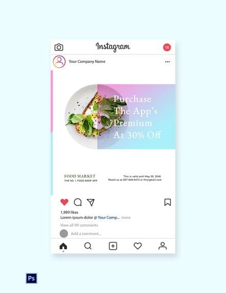 Free Food App Promotion Instagram Post Template