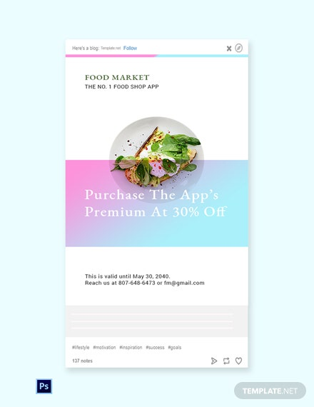Free Food App Promotion Tumblr Post Template