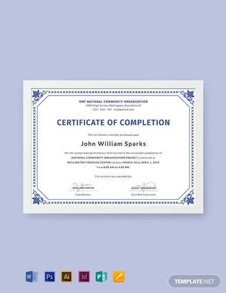 photo regarding Free Printable Certificate of Completion identified as 622+ Absolutely free Certification Templates - Term PSD InDesign