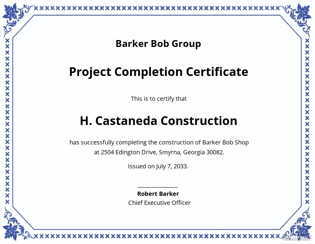 Certificate of Project Completion Template