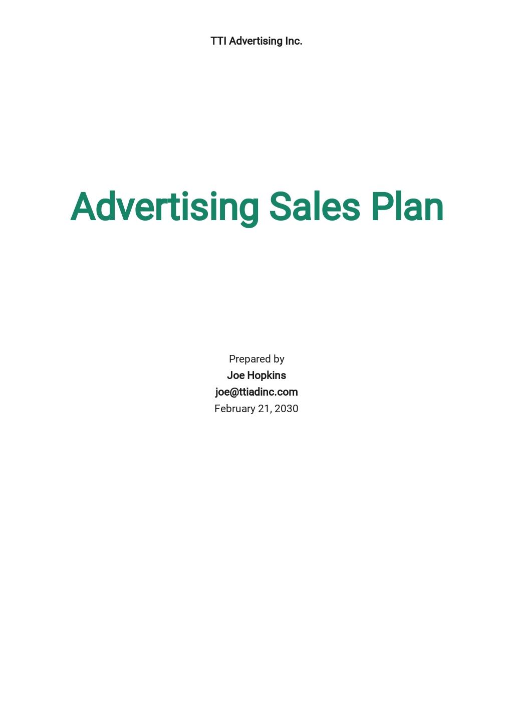 Advertising Sales Plan Template