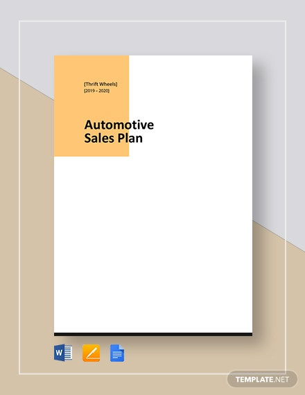 Automotive Sales Plan Template