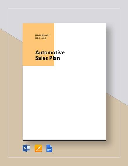 Automotive Sales Plan Template