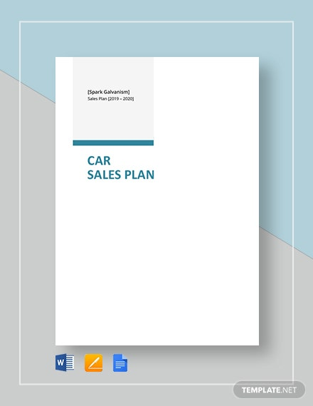 Car Sales Plan Template