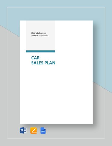 Car Sales Plan Template