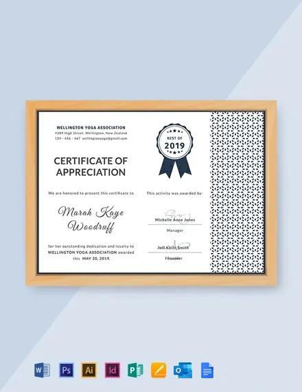 Free Customer Certificate of Appreciation Template