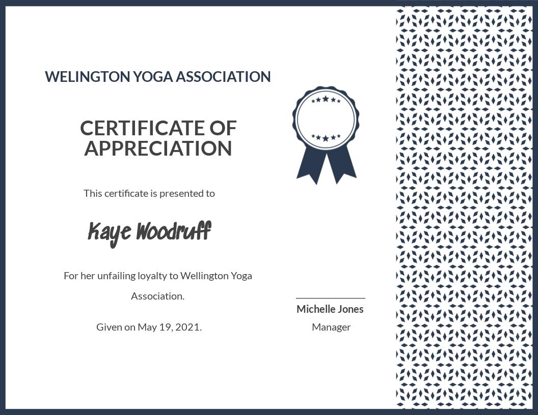 Customer Certificate of Appreciation Template