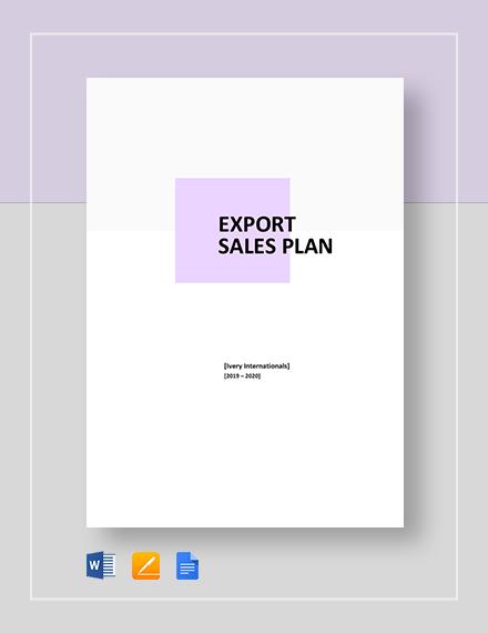 Export Sales Plan Template