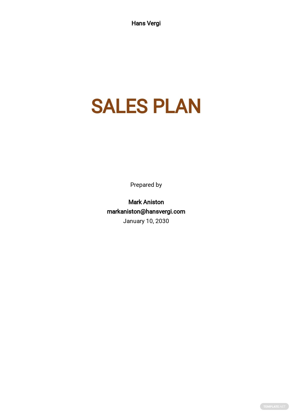 Fashion Sales Plan Template
