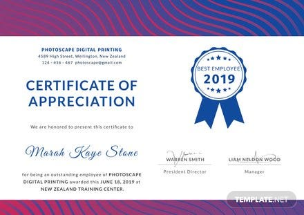 Free Employee Certificate of Appreciation Template