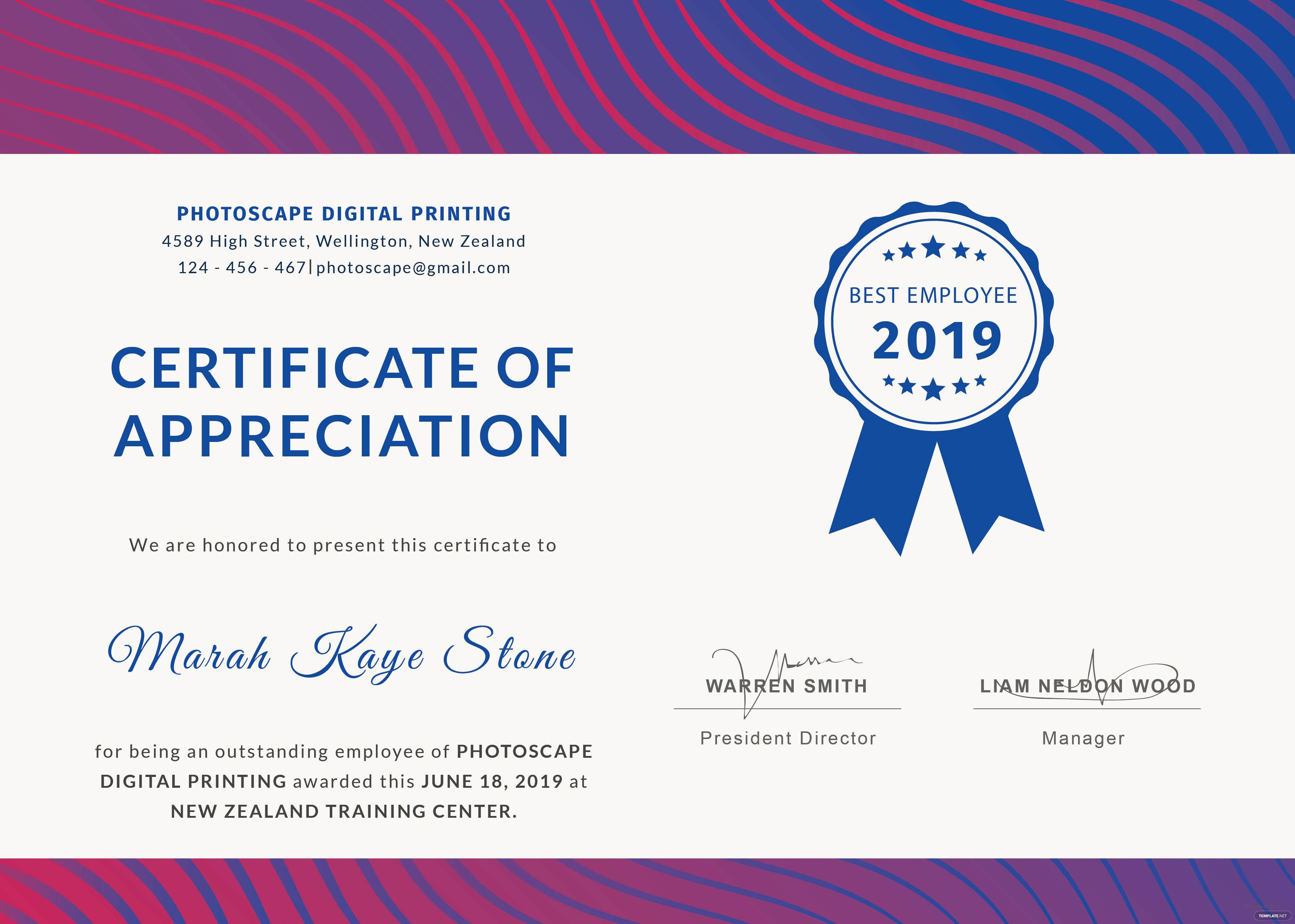 Free employee certificate of appreciation template in adobe employee certificate of appreciation yadclub Choice Image