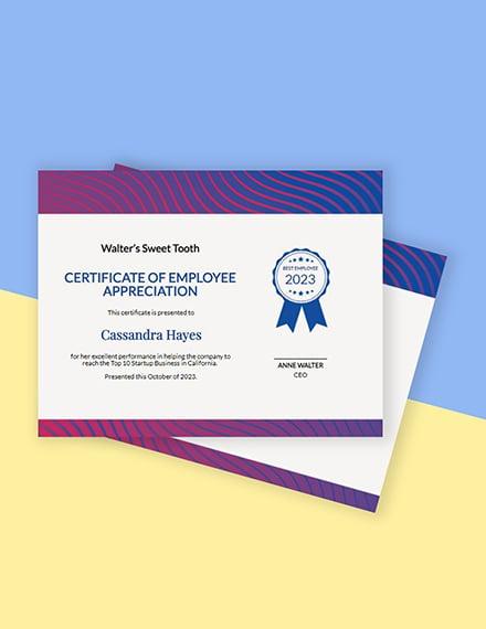 Free Employee Certificate of Appreciation Template