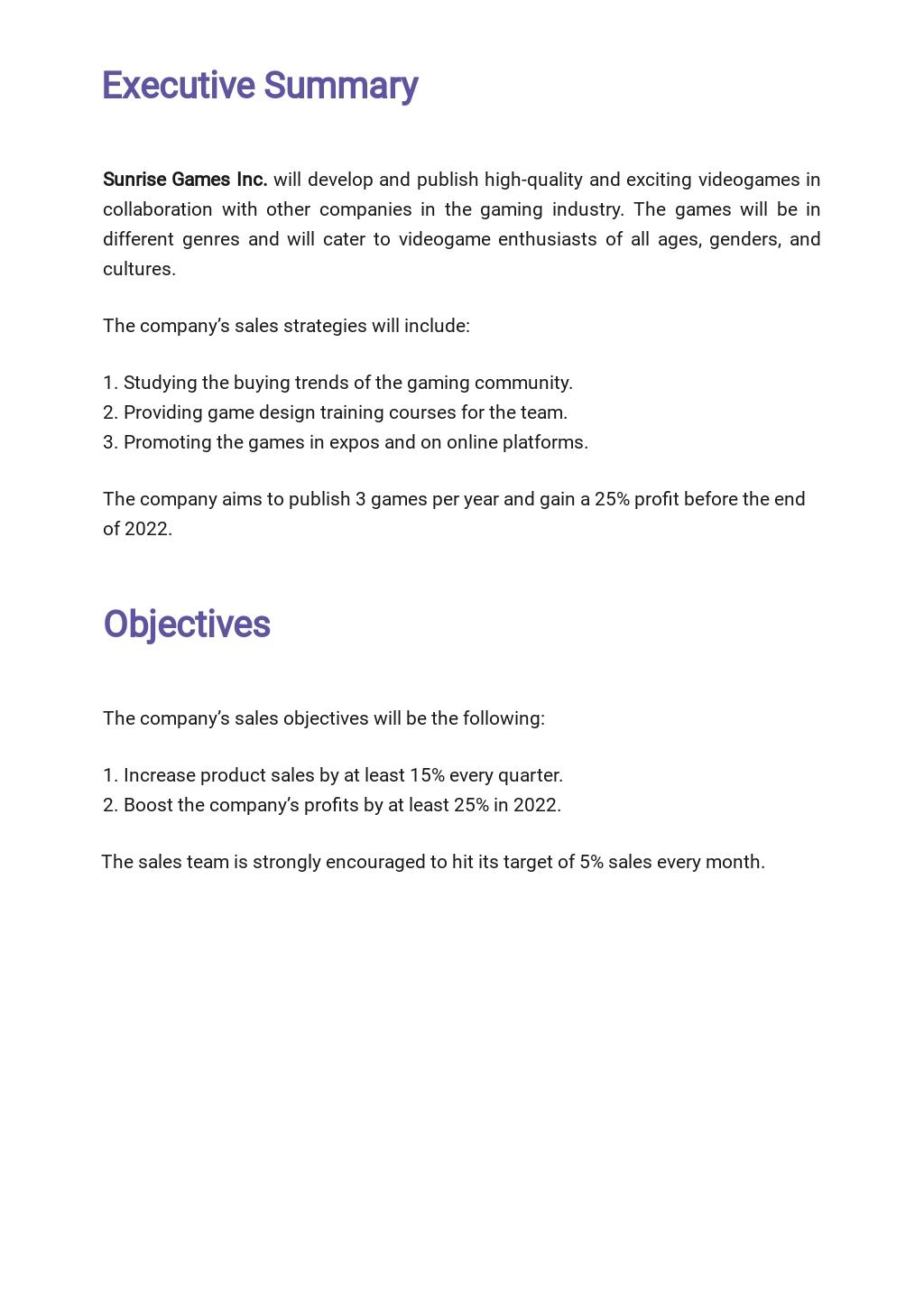 Game or Game Studio Sales Plan Template 1.jpe