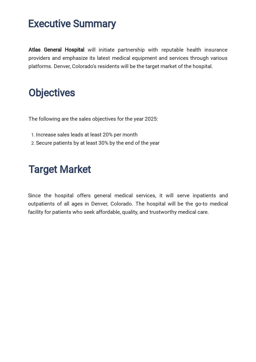 Hospital Sales Plan Template 1.jpe