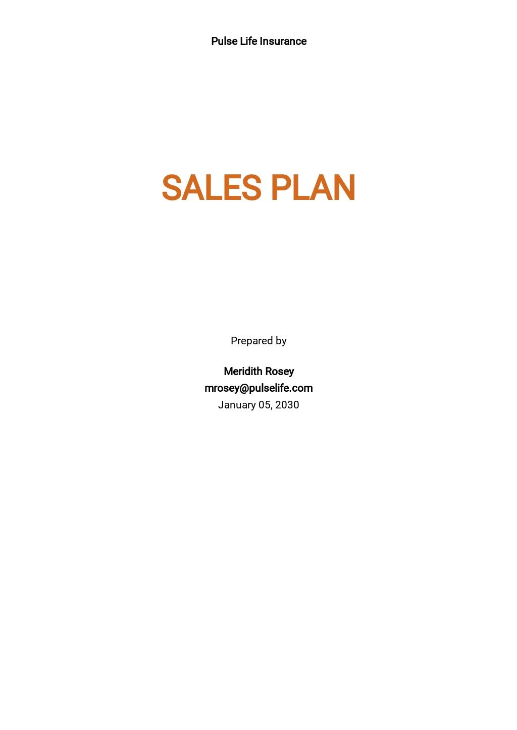 Insurance Sales Plan Template