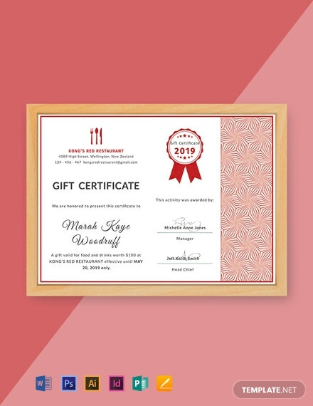 Free Gift Certificate for Restaurant Template