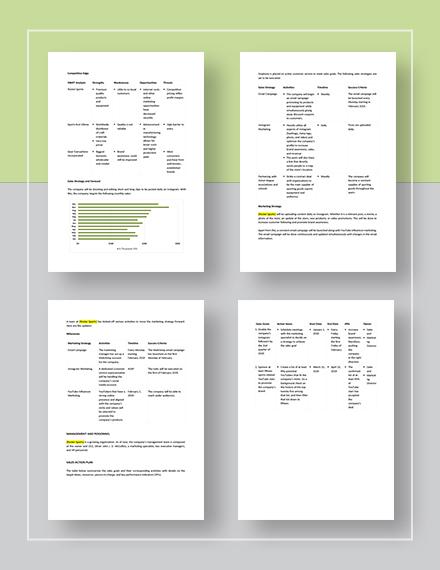 Sample Sport Equipment Sales Plan