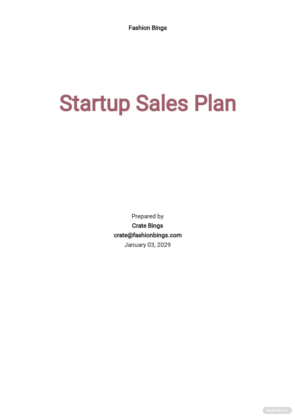 Startup Sales Plan Template [Free PDF] - Google Docs, Word, Apple Pages