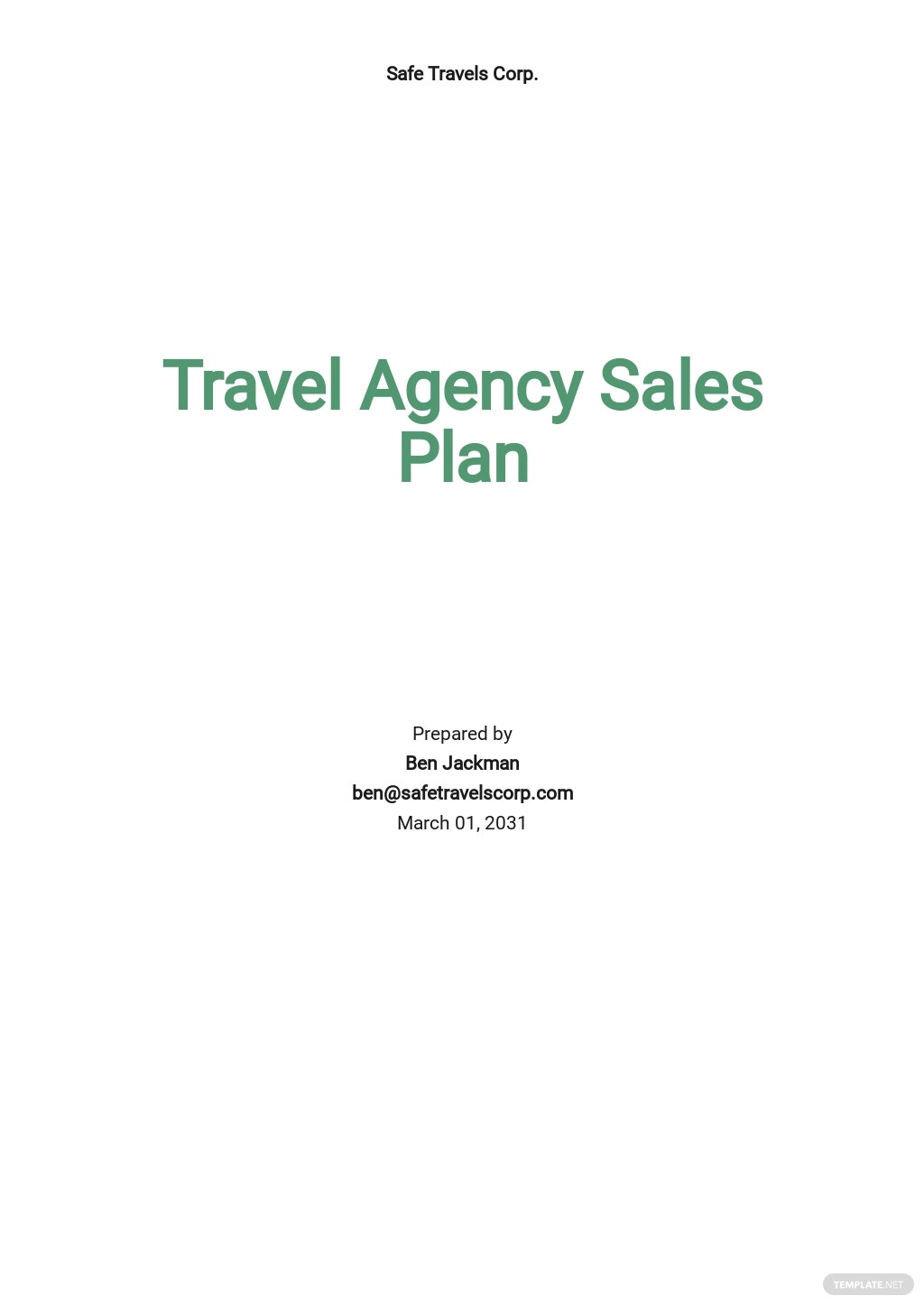 Travel Agency Sales Plan Template