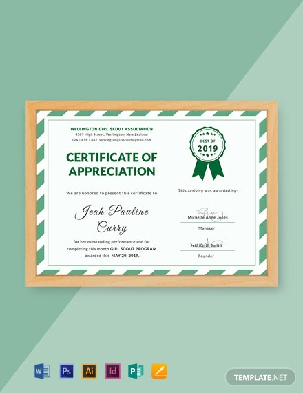 graphic relating to Girl Scout Certificates Printable Free titled Absolutely free Woman Scout Certification of Appreciation Template - Phrase