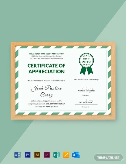 Free Girl Scout Certificate of Appreciation Template