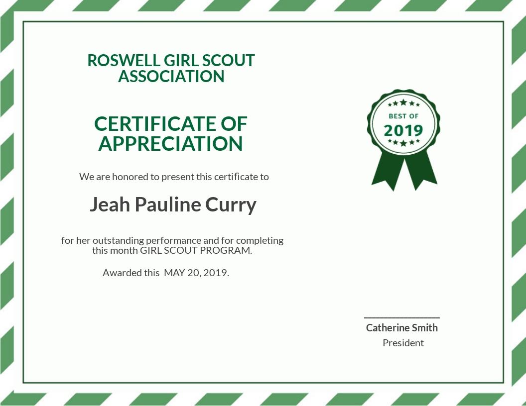 Free Girl Scout Certificate of Appreciation Template.jpe