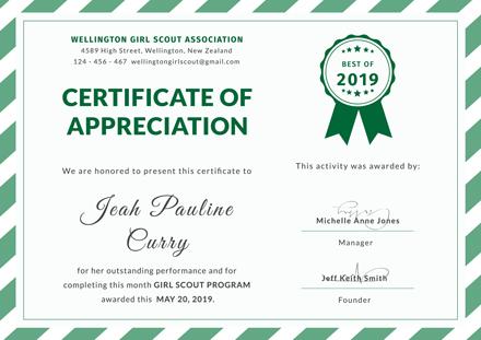 Free Girl Scout Certificate of Appreciation Template