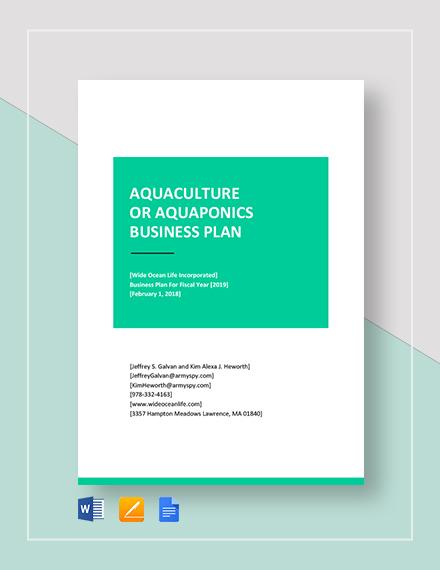 Aquaculture or Aquaponics Business Plan Template