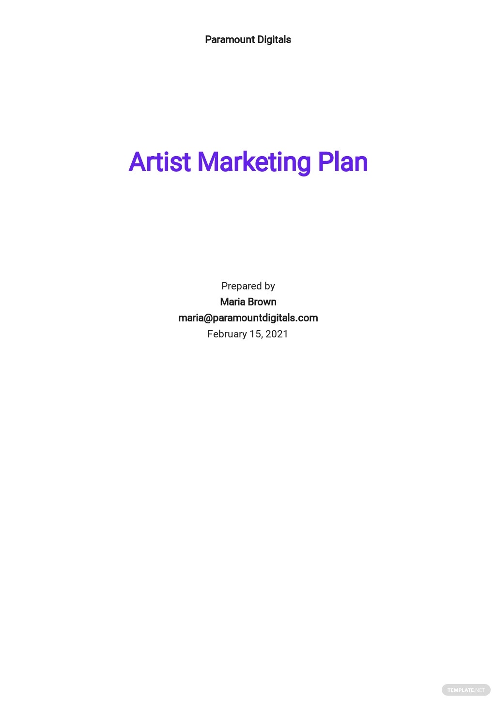 Artist Marketing Plan Template