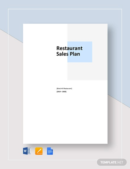Restaurant Sample Sales Plan Template
