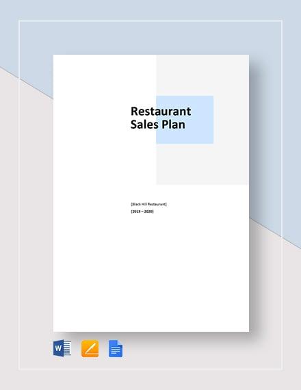 restaurant sample sales plan