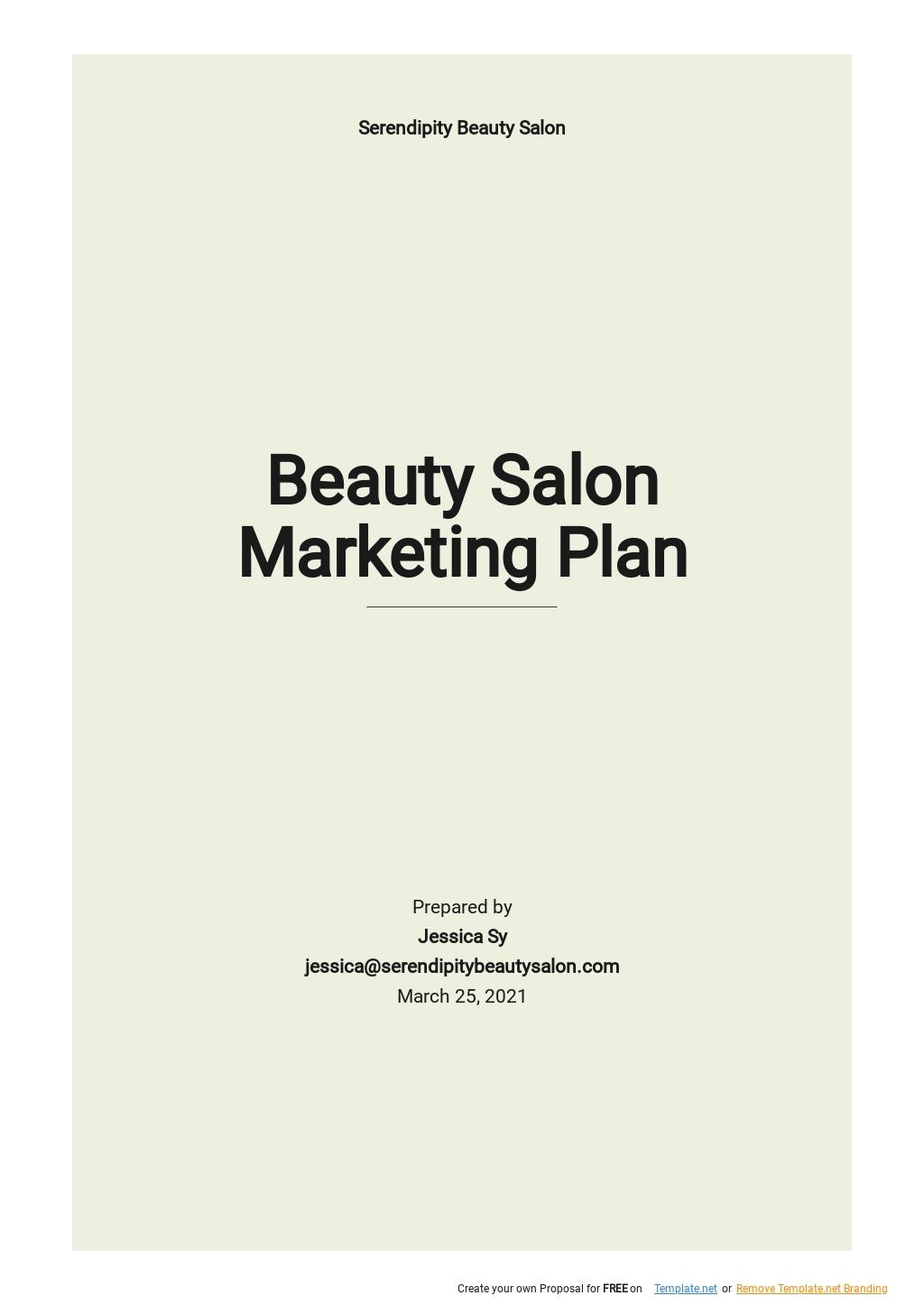 Beauty Salon Marketing Plan Template