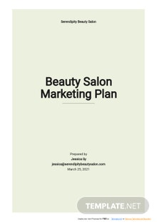 Beauty Salon Marketing Plan Template
