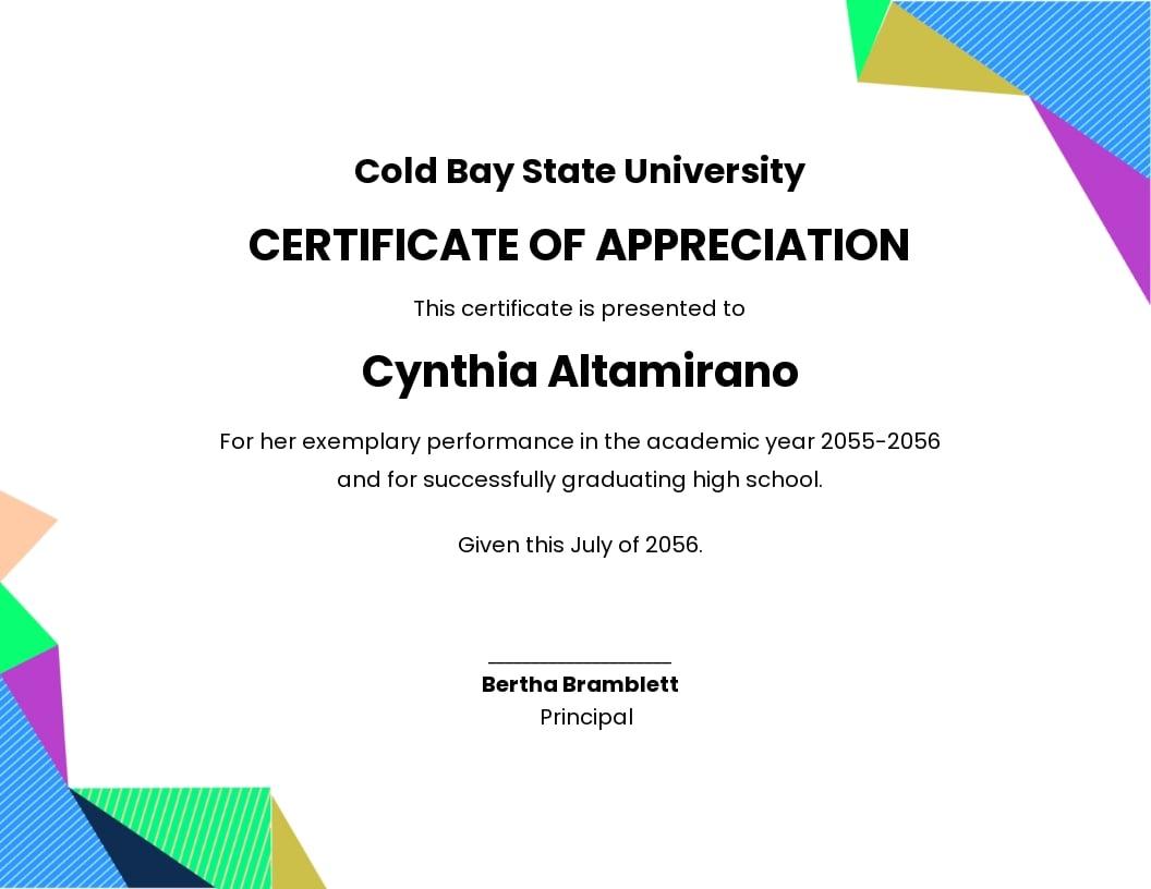 Graduation Appreciation Certificate Template