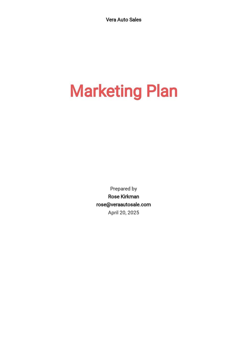 Car Sale Marketing Plan Template