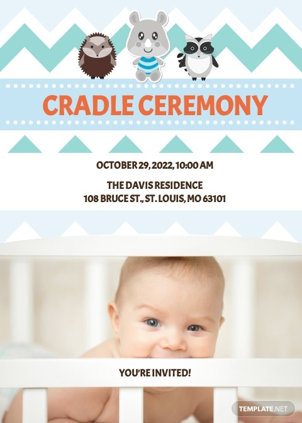 Simple Cradle Ceremony Invitation Template