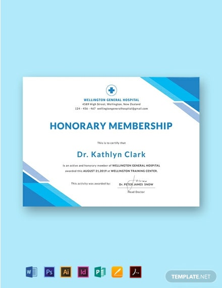 Free Medical Membership Certificate Template