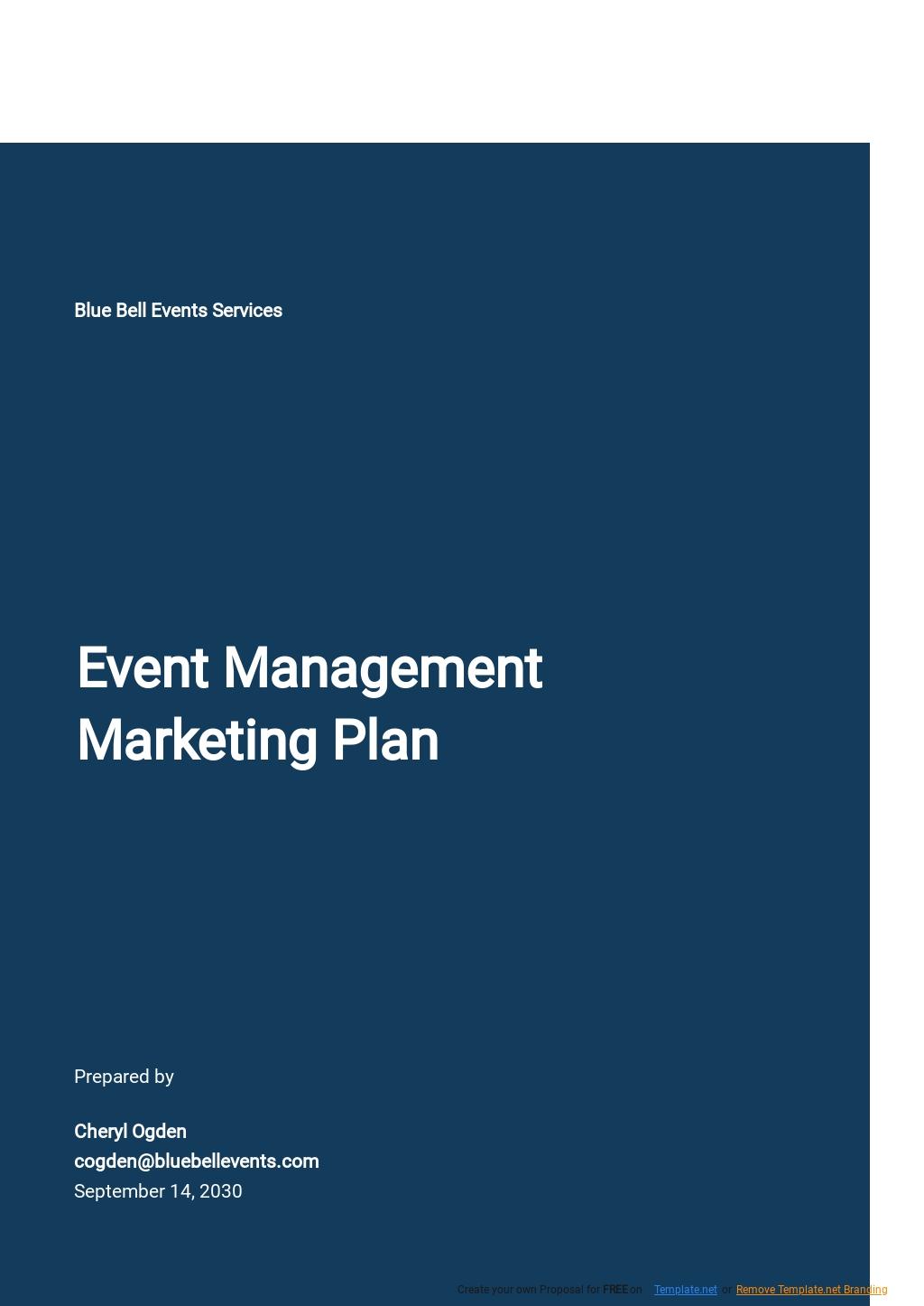 Event Management Marketing Plan Template